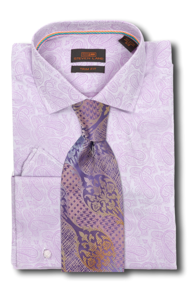 Stevenland dress shirt ta1608 100 cotton spread for Purple french cuff dress shirt